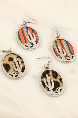 Metal Cactus Earrings