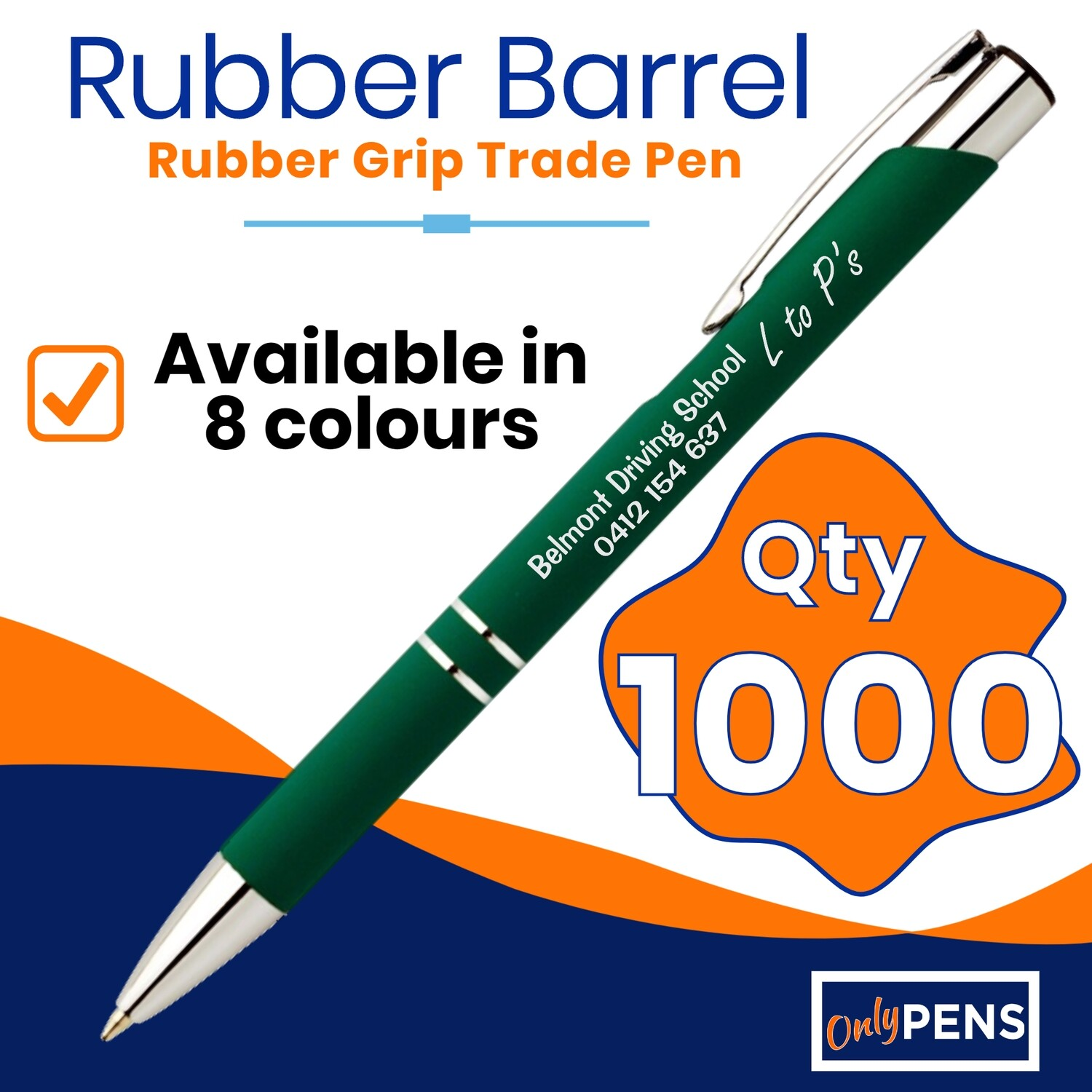 1000 x RUBBER BARREL TRADE PENS