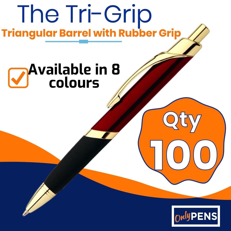 100 x TRI-GRIP METAL PENS