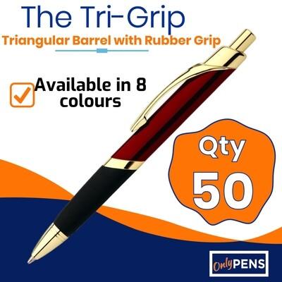 50 x TRI-GRIP METAL PENS