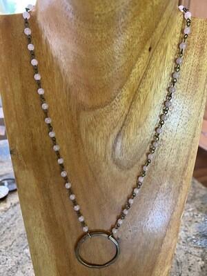 Brass Circle Pink Quartz Necklace
