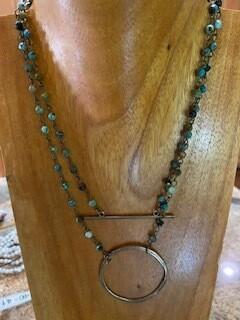 Brass Bar Multi Color Gemstone Necklace 8