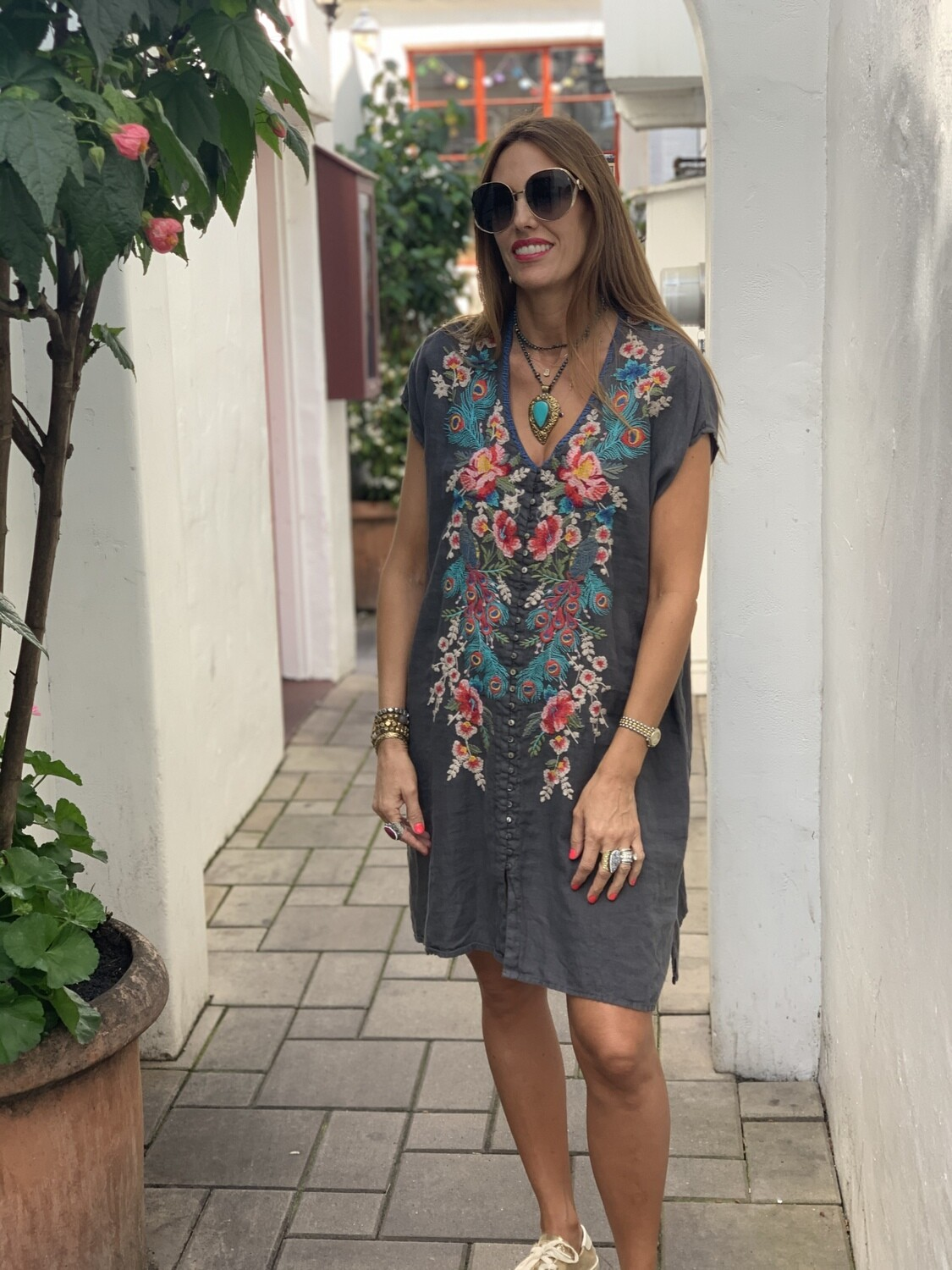 Johnny Was Linen Short Sleeve Embroidered Gray Button Dress Caftan