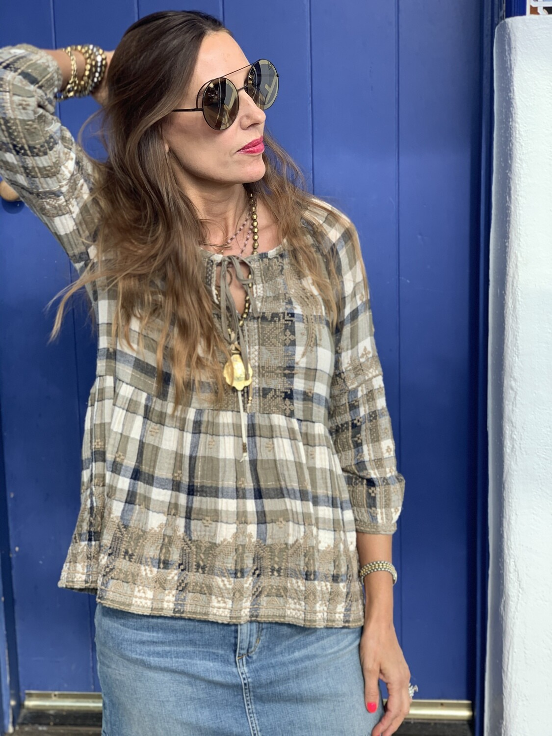 Johnny Was Plaid Flare Tunic Top