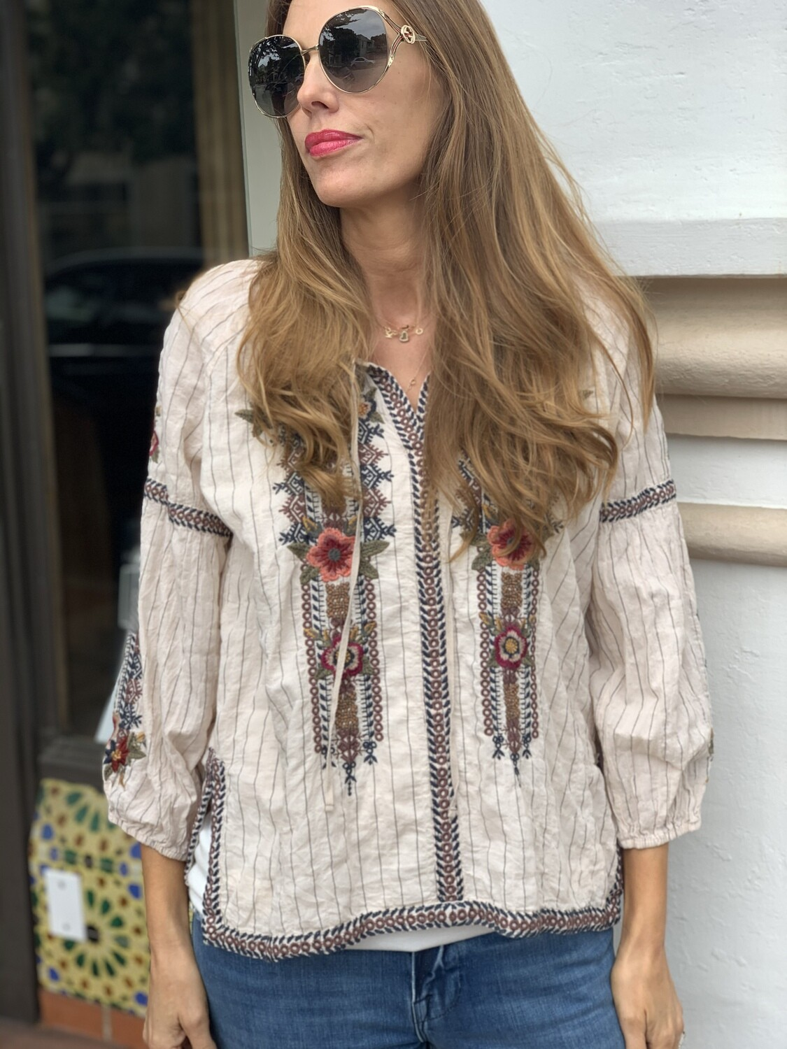 Johnny Was Creme Embroidered Tunic