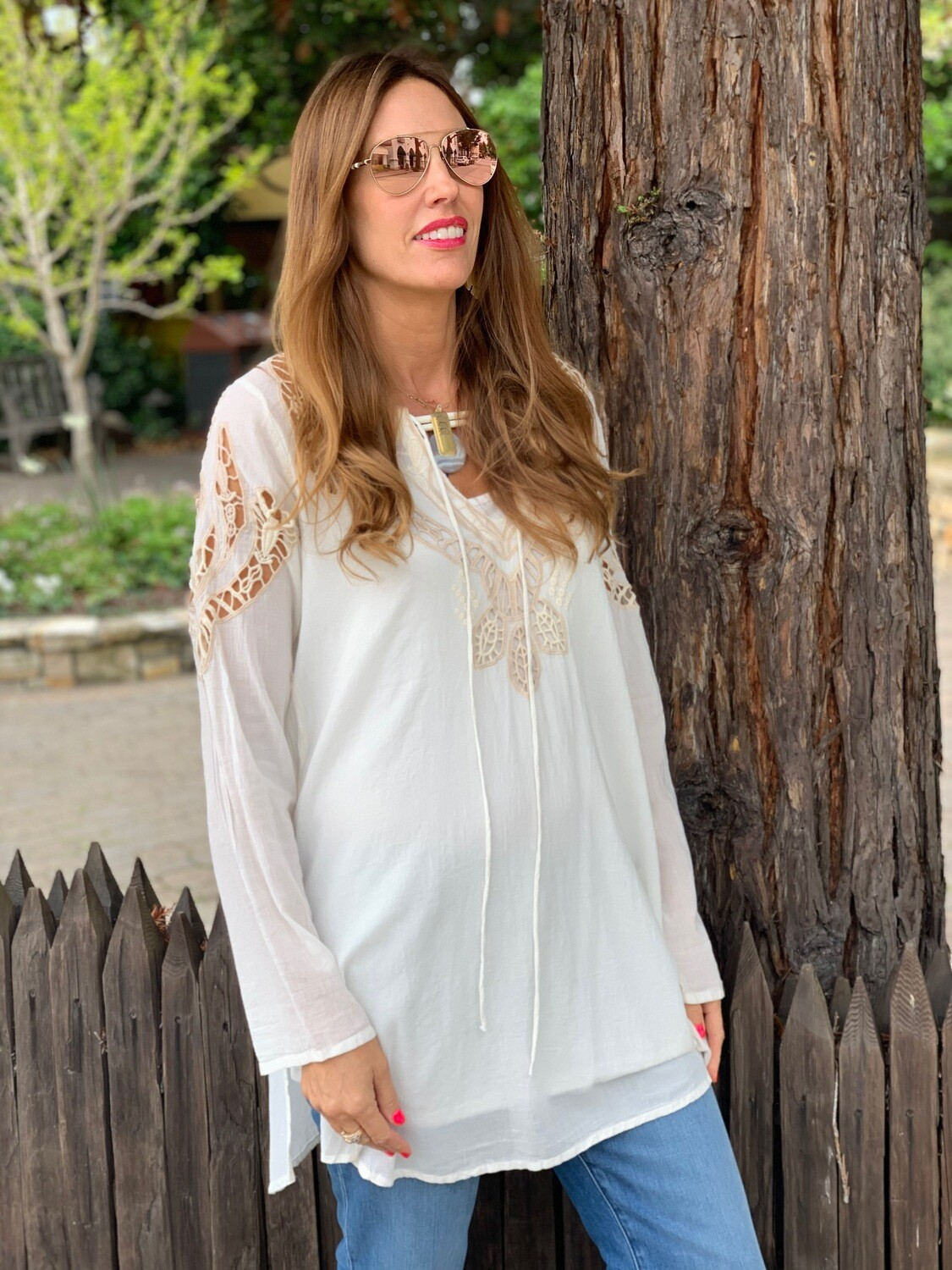 Johnny Was Ecru Open Embroidered Tunic