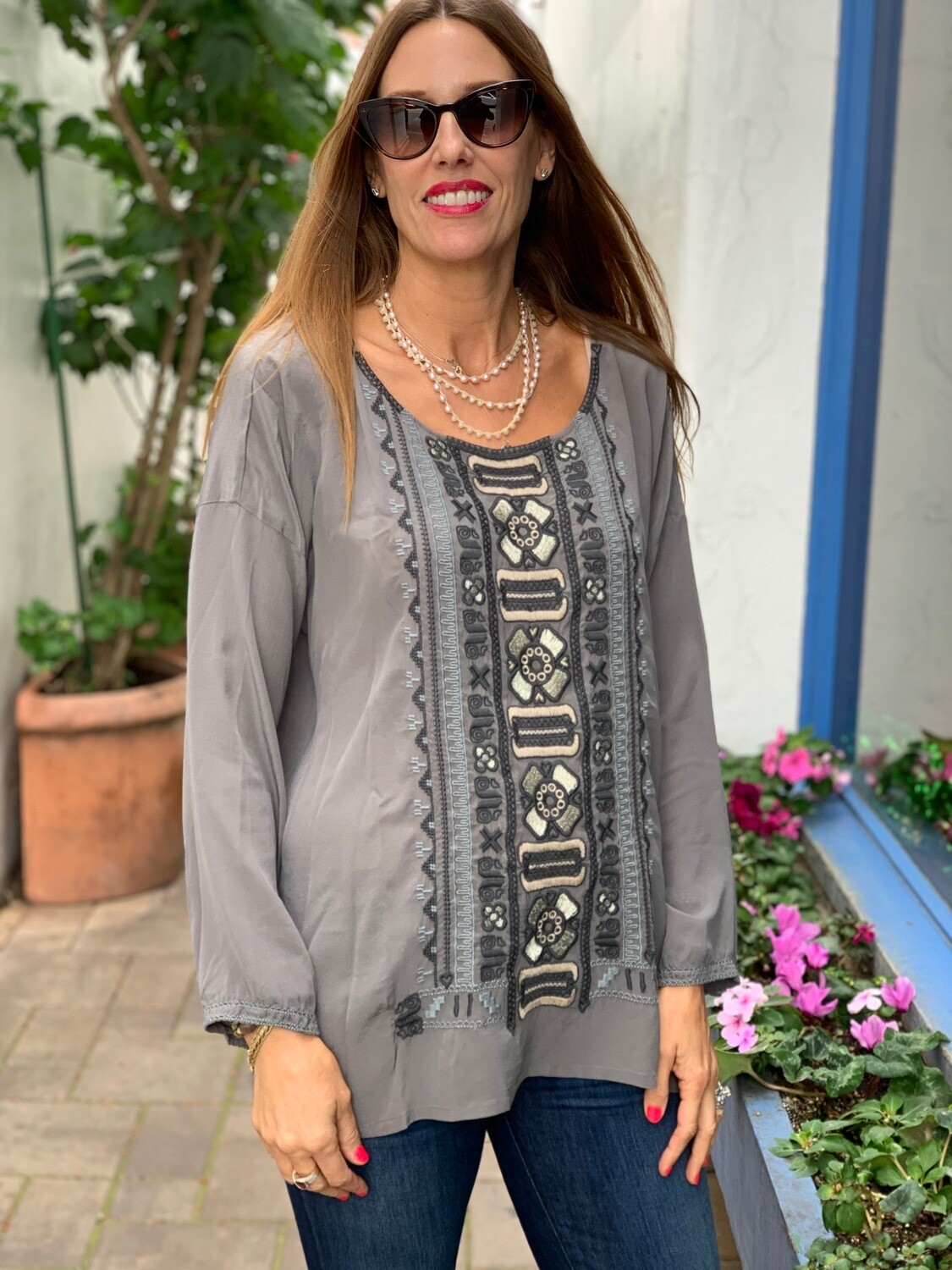 Johnny Was Biya Gray Tunic Shirt