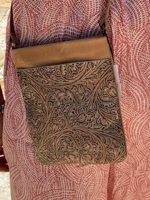 Leatherock Embossed Leather Crossbody Handbag Purse