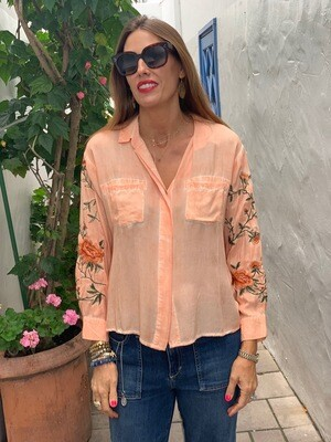 Aratta Peach Embroidered Blouse