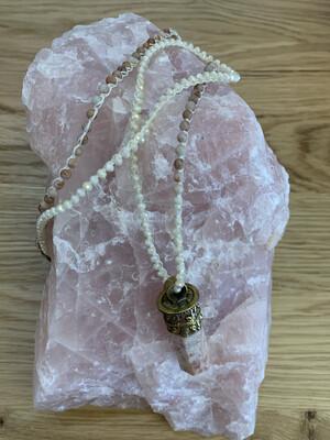 Tibetan Gold Pink Gemstone Necklace