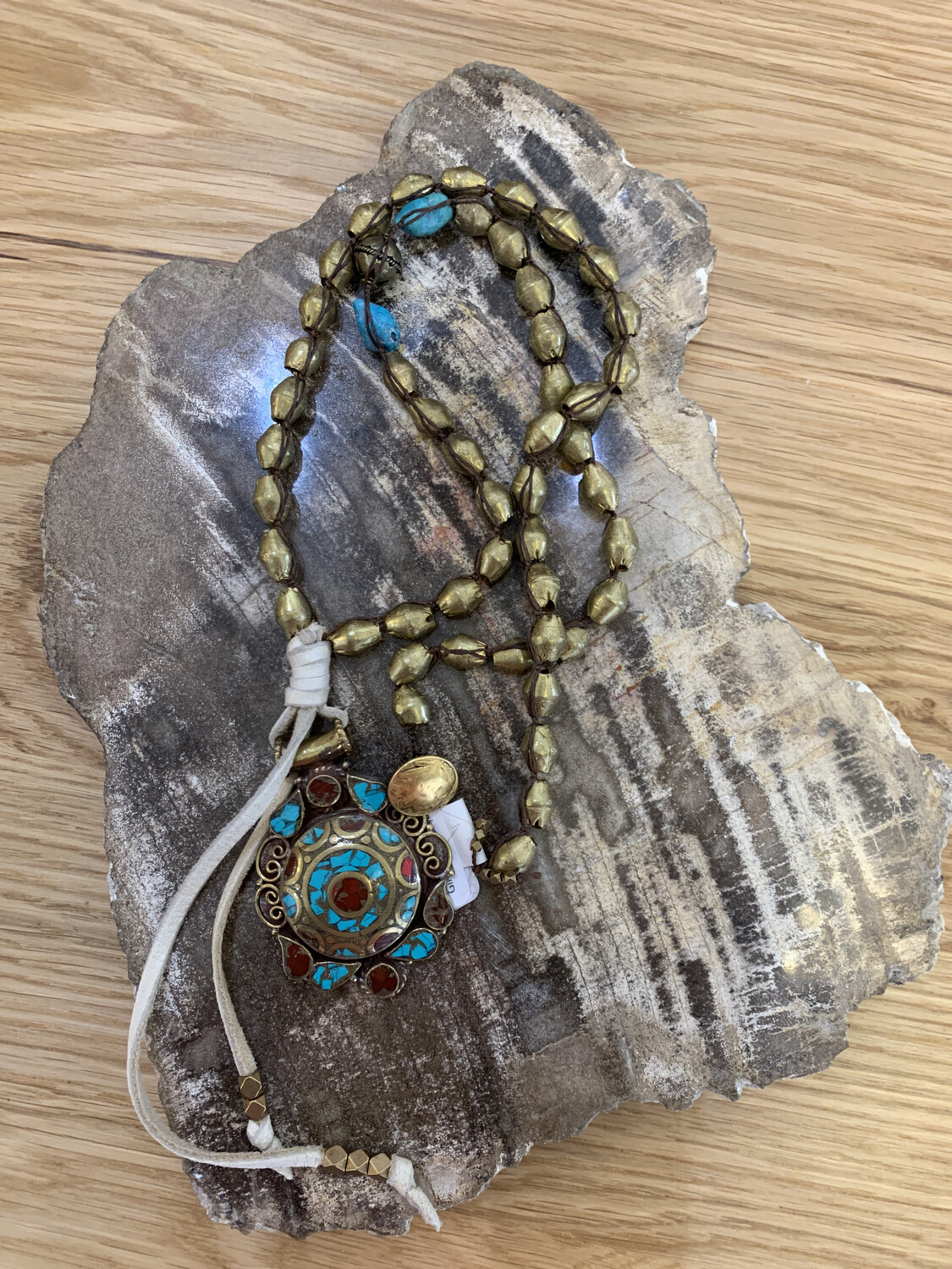 Metal Bead Necklace With Metal Gemstone Inlay Pendant And Leather Detail