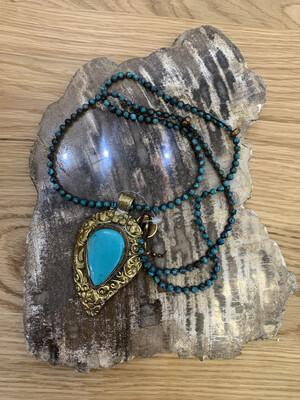 Tibetan Gold Embossed Genuine Stone Pendant on Gemstone Necklace