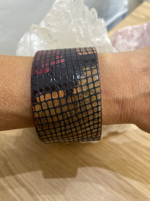 Multi-color Print Embossed Leather Cuff Bracelet Snake Print With Magnetic Closure