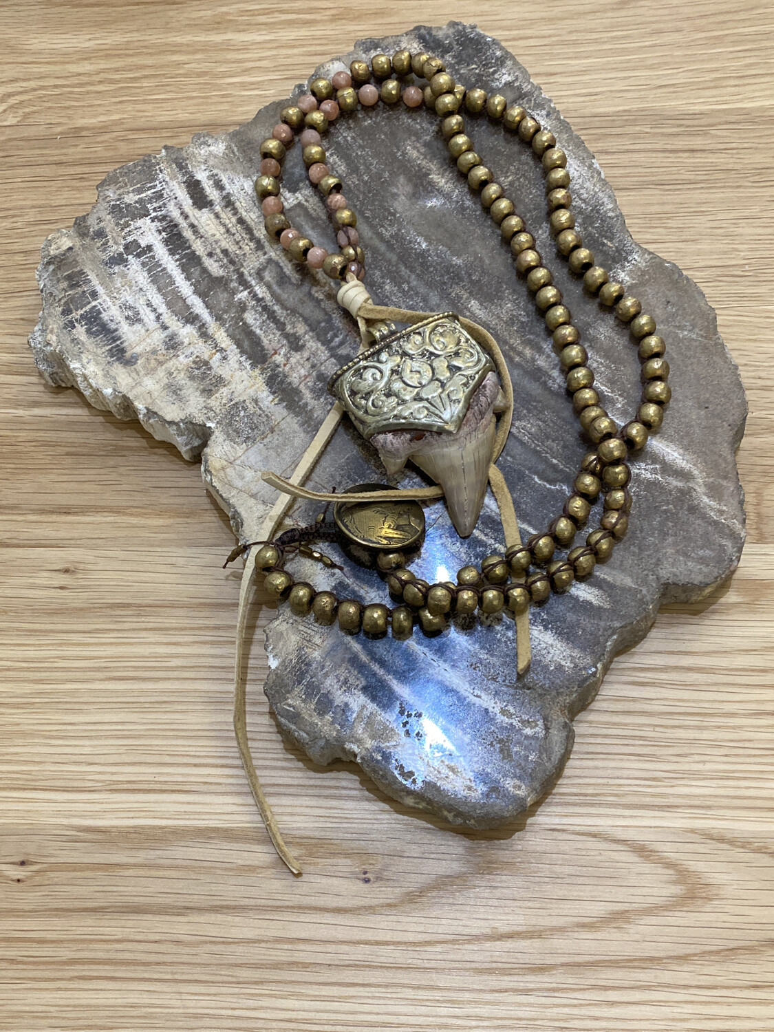 Tibetan Silver Fossil Shark Tooth Pendant on Metal Hand Beaded Necklace