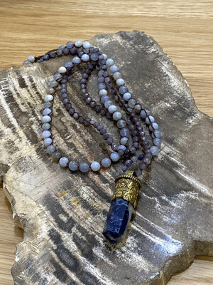 Genuine Gemstone Necklace w/Lapis Crystal set in Tibetan Gold