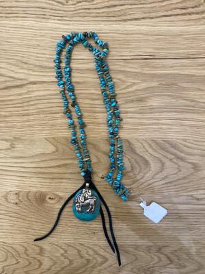 Turquoise Tibetan Silver Pendant Necklace