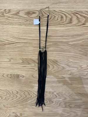 Geode Sliced Gold Black Fringe Leather Necklace