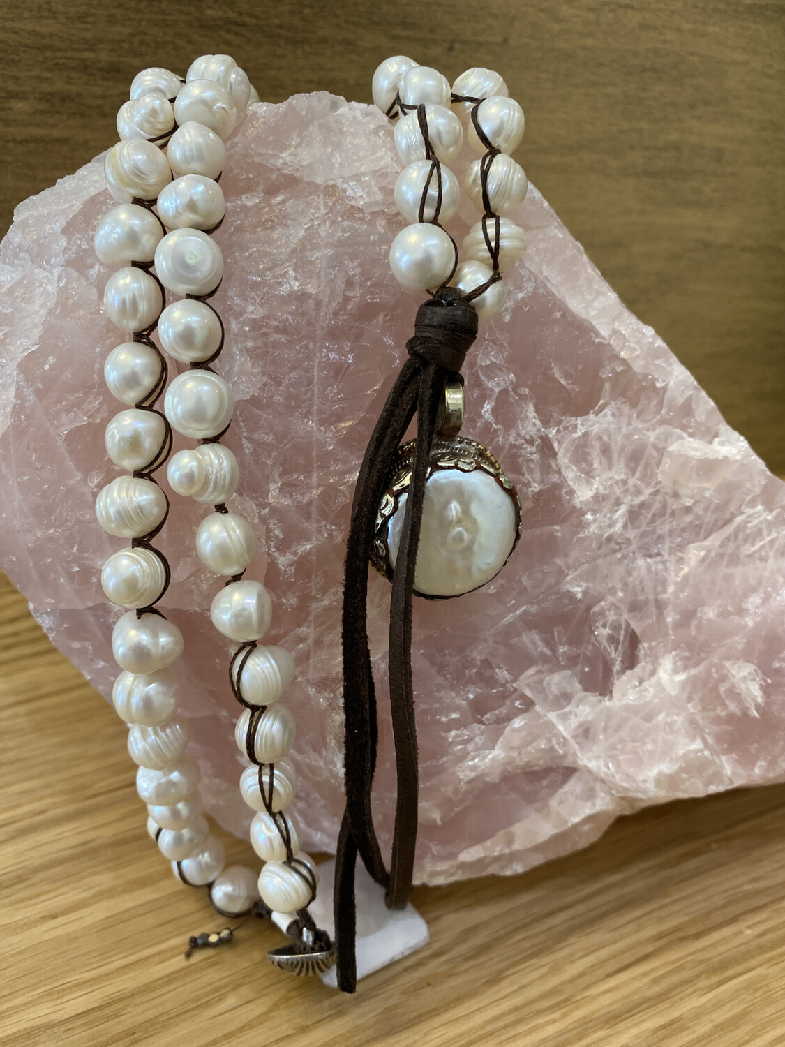 Pearl Necklace with Tibetan Silver Pearl Pendant