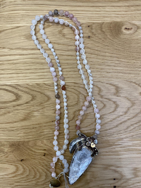 Gemstone Necklace With Tibetan Silver Quartz Pendant