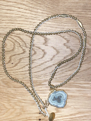 Gold Beaded Necklace with Druzy Pendant
