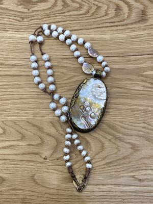 Large Tibetan Gold Pearl Pendant Necklace