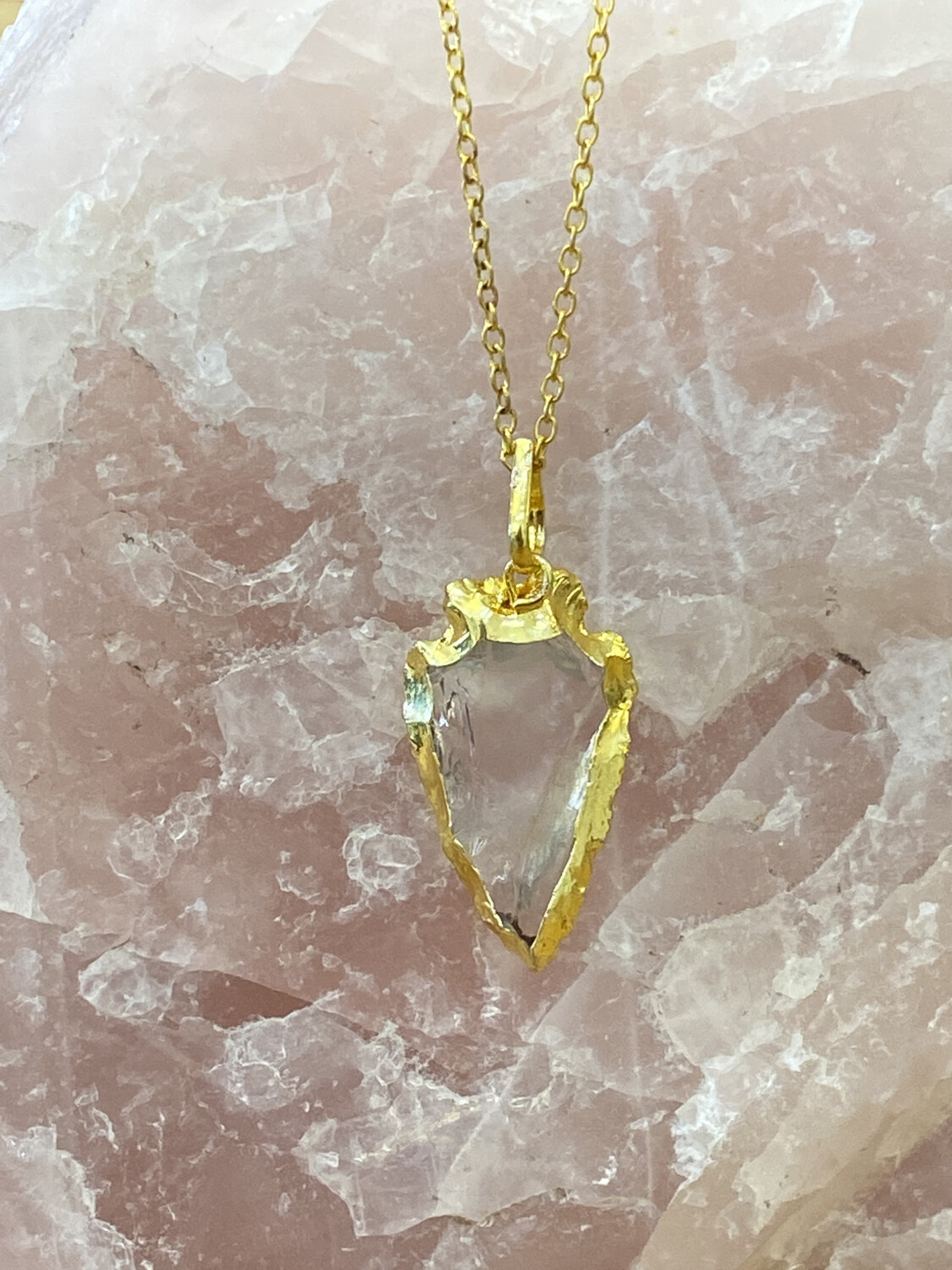 Arrow Head Dipped Gold Crystal Gold Necklace Pendant
