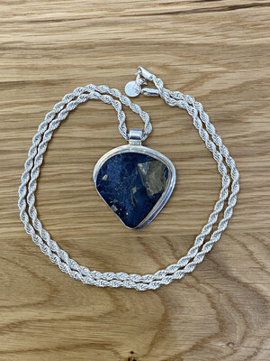 STERLING Silver PENDANT PYRITE ON SLATE With Sterling Silver Rope Chain