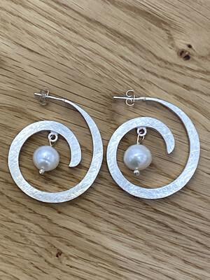 Monica Zamora Sterling Silver Spiral Genuine Pearl Earrings