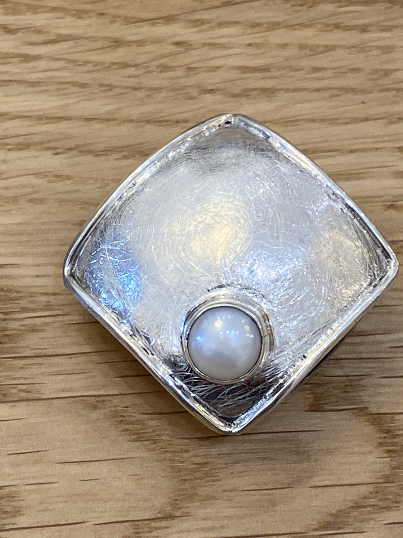 Sterling Silver Genuine pearl scarf clip handmade