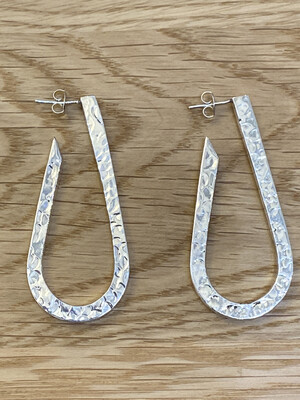 Monica Zamora Sterling Silver Hammered Oblong Hoop Earrings