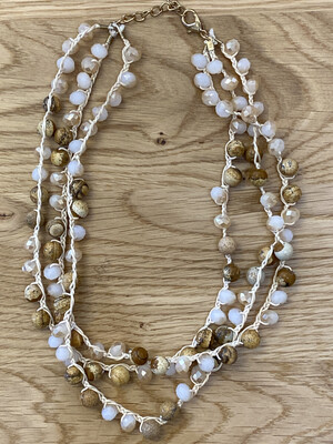 3 Strands In One Gemstone Necklace