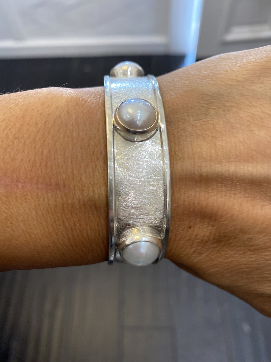 Monica Zamora Brushed Sterling Bracelet With Three Pearls