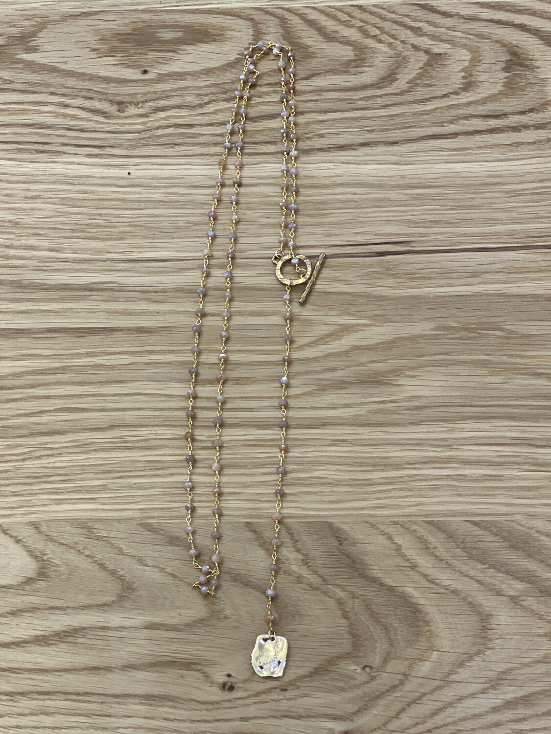 Lariat Y Rosary Sunstone Necklace  w/ Pendant