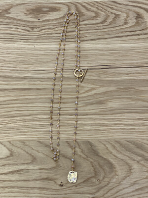 Lariat Y Rosary Sunstone Necklace  w/ Pendant