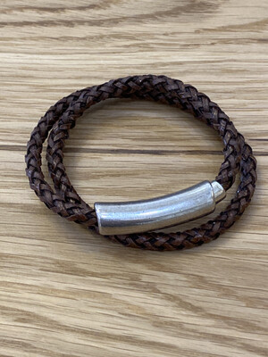 Leather Double Braid Bracelet With Metal Magnetic Closure