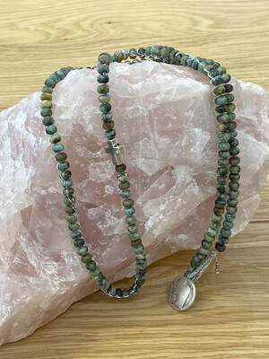 African Turquoise Necklace With Silver Cross Detail