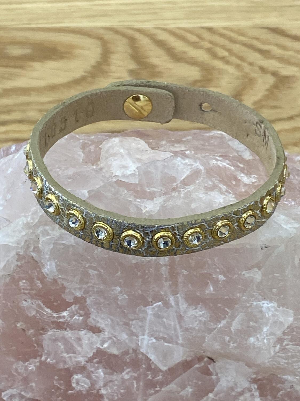 Gold Shimmer Snake Print Leather Skinny Adjustable Bracelet With Crystal Accents