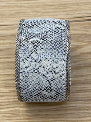 Leather Snake Printed Bracelet With Silver Magnetic Closure