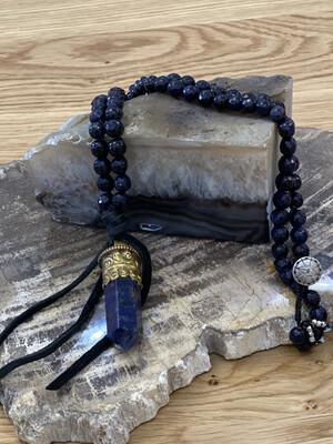 Lapis Tibetan Gold Crystal Pendant Necklace
