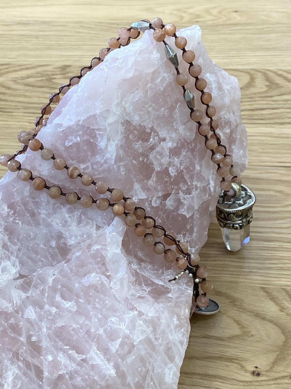 Sunstone Necklace with Crystal Quartz Tibetan Silver Pendant