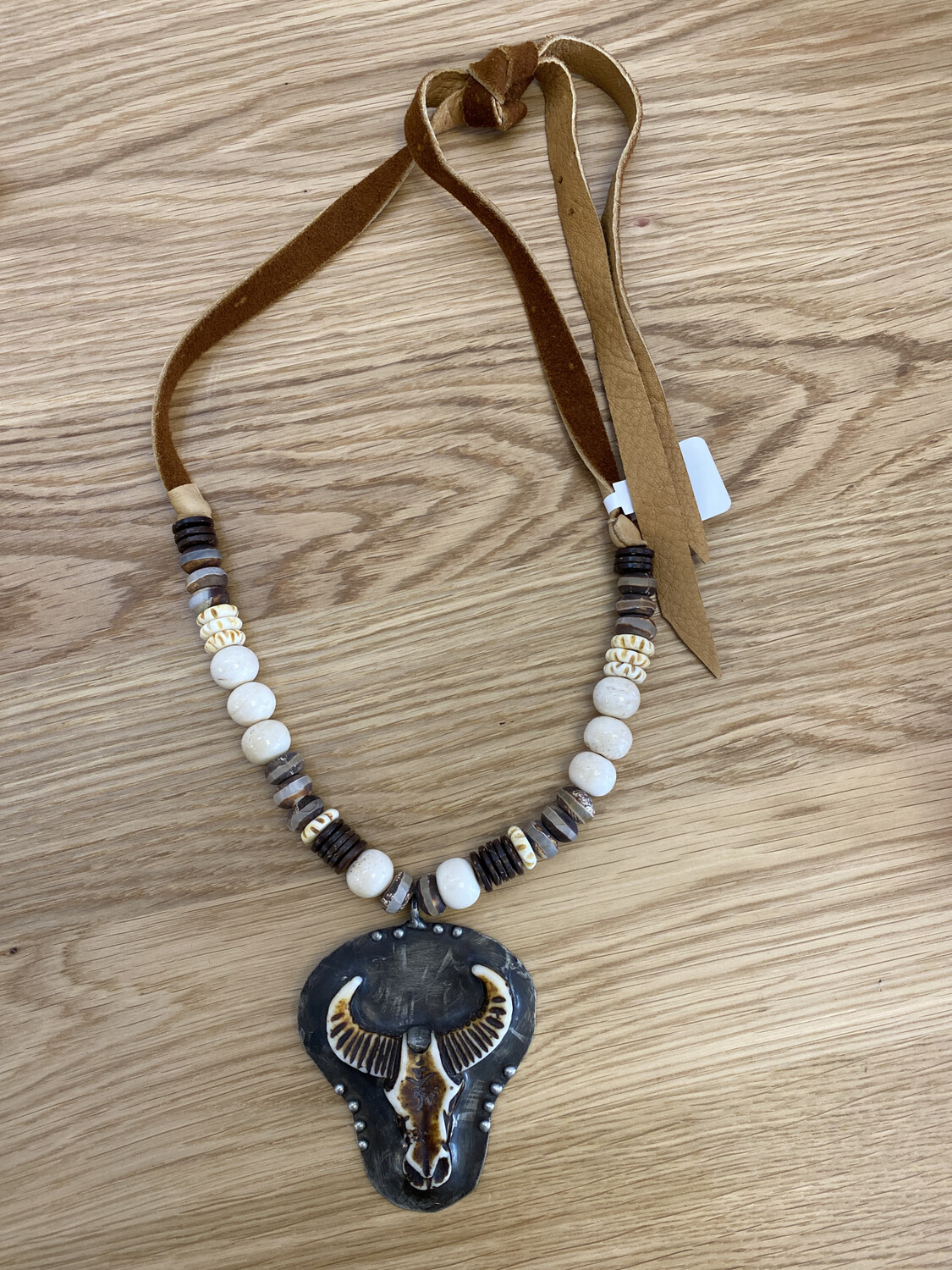 Cow Metal Pendant Leather Beaded Necklace