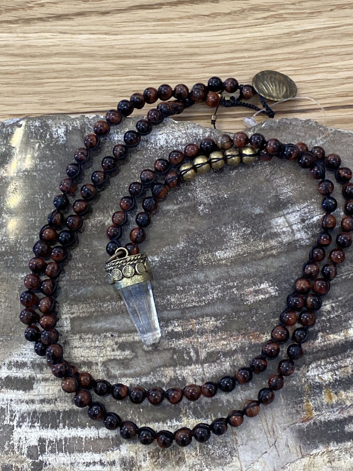 Gemstone Necklace With Tibetan Gold Crystal Pendant