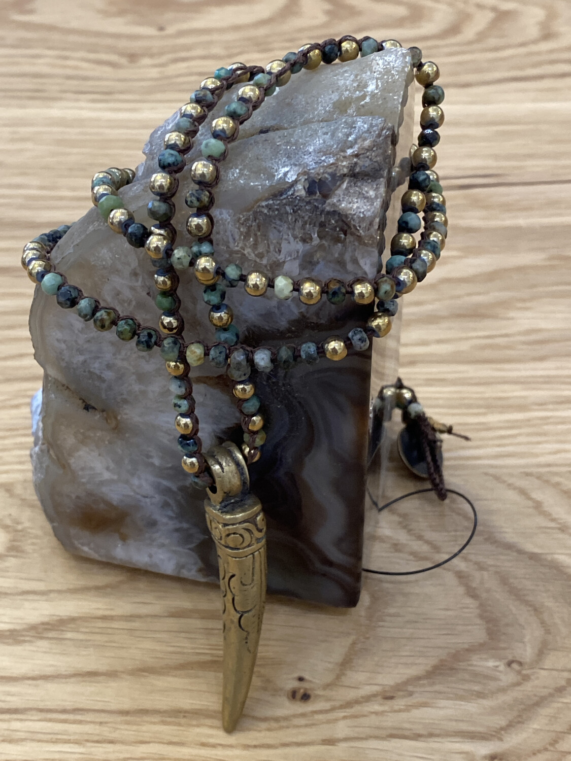 African Turquoise Tibetan Gold Horn Necklace