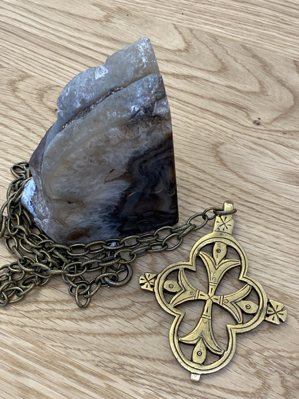 Bronze Cross Long Necklace