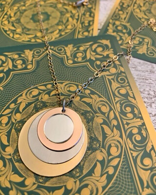 Healing Arts Metal Mirror Gold Necklace