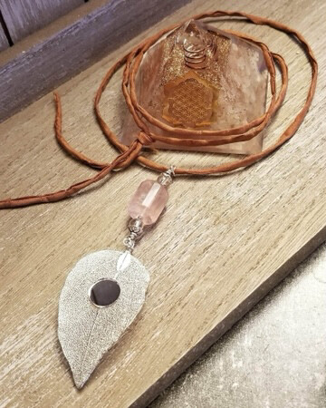 Healing Arts Rose Quartz Leaf Mirror Necklace