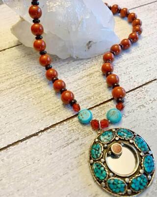 Healing Arts Turquoise Jasper Mirror Necklace