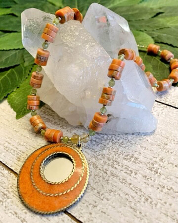 Healing Arts Jasper Citrine Mirror Necklace