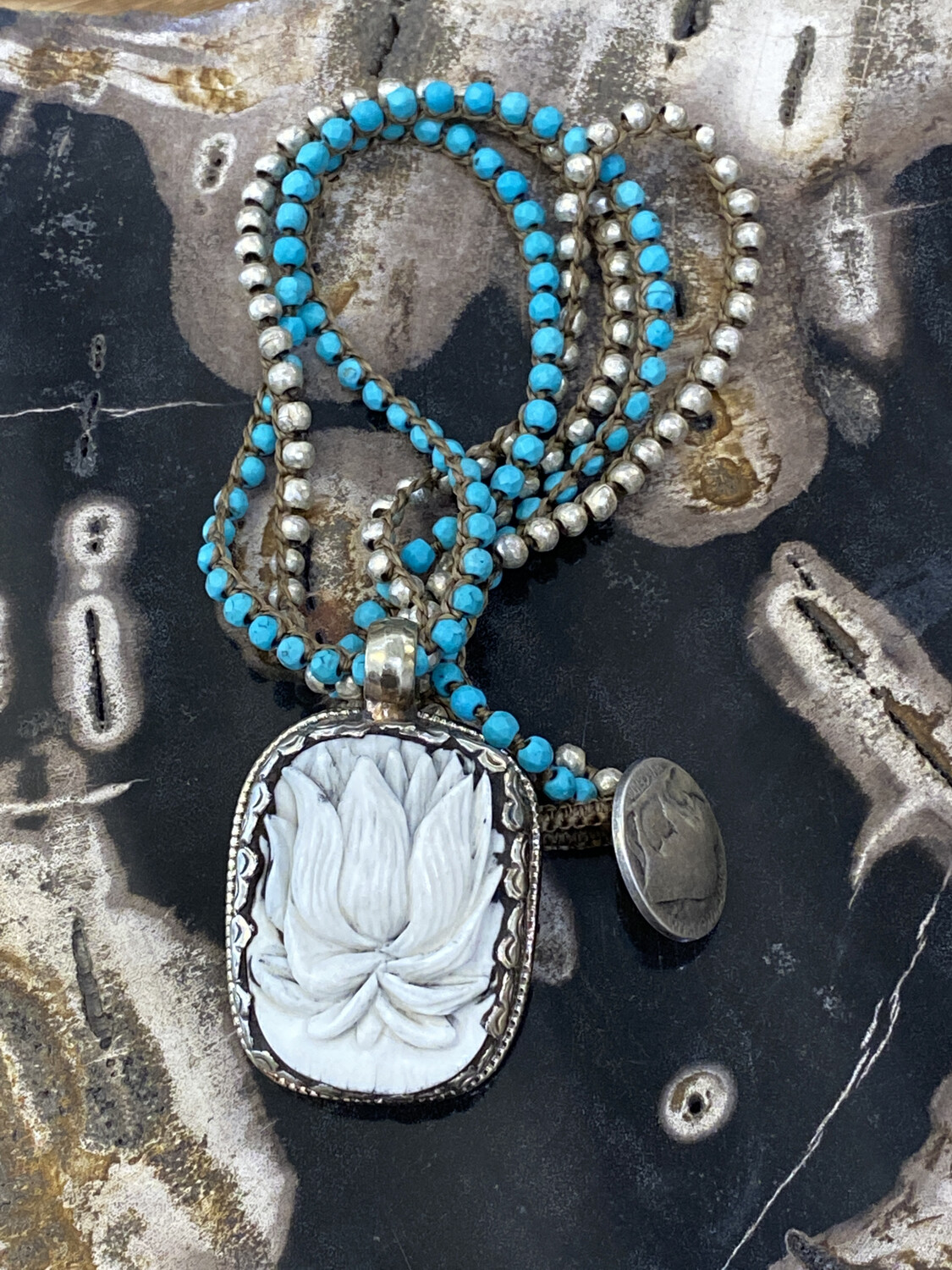 Lotus Carved Ox Bone Repousse Silver Turquoise Ethiopian Metal Bead & Turquoise Necklace