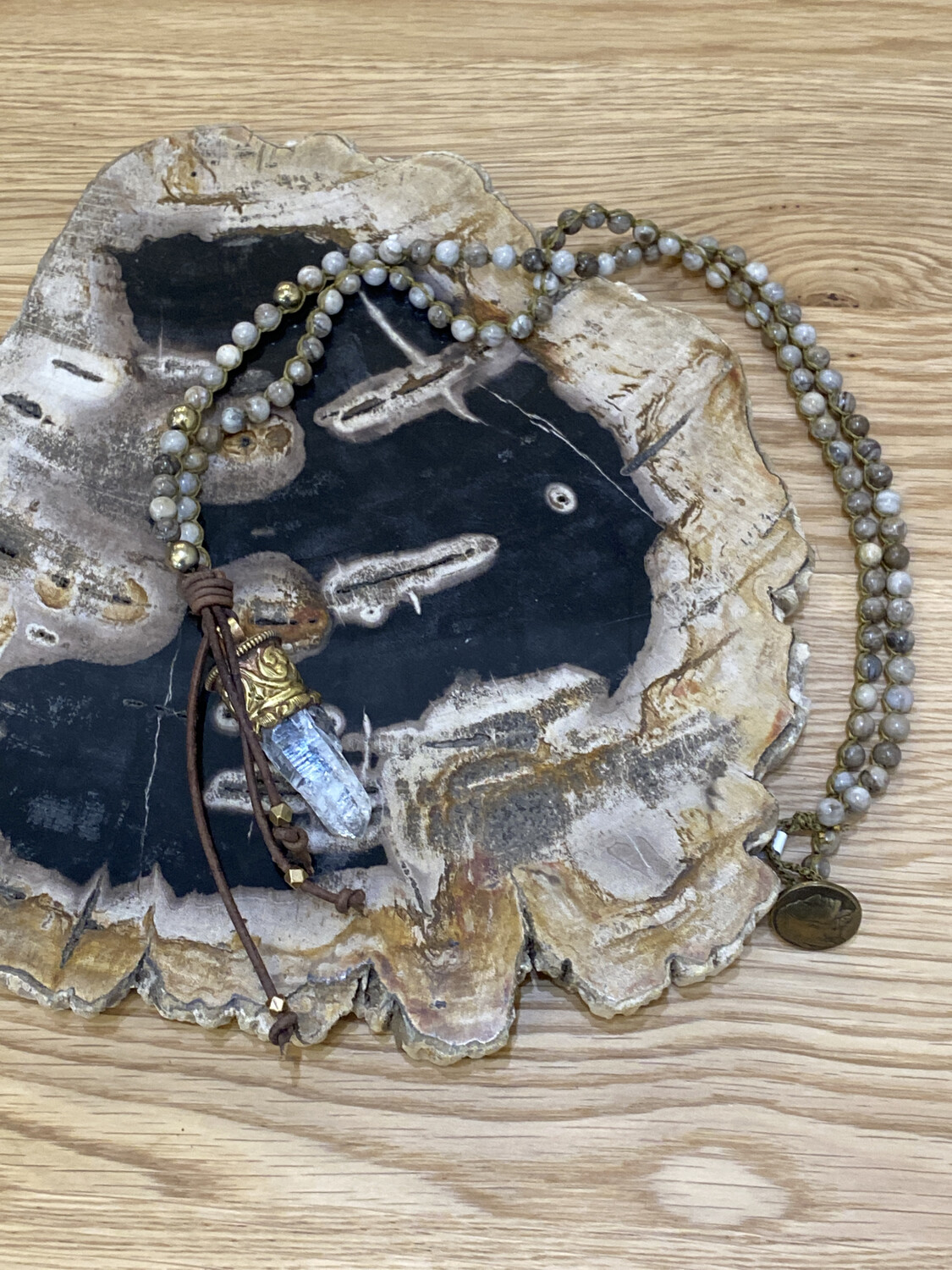 Fossil Beaded Necklace with Repousse Gold Crystal Quartz Pendant